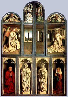 Jan Van Eyck  Lamb of God  Altarpiece (wings closed)  1432 St Baafs Cathedral Ghent Belgium