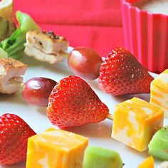 chicken and fruit kabobs