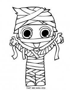 print out halloween kids mummy coloring page - Printable Coloring Pages For Kids