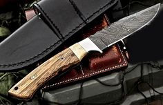 Custom Handmade Damascus Zebrawood-Camel Bone Hunter Skinner Scout Knife by ComeandTakeThem on Etsy