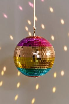 Rainbow Disco Ball | Urban Outfitters Disco Theme, Disco Party, Disco Ball, 70s Party, Hot Pink Furniture, Dance Themes, Disco Lights, Bling, Table Games
