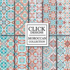 Marocain papier numérique : Rétro  Marocain bleu par ClickDesigns