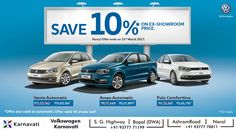 Last day to save 10% off* on your favorite #Volkswagen car. Drive home one today. For more details, Call on : S.G. Highway: 9377771199 / Ashram Road : 9377770011. T&C Apply.