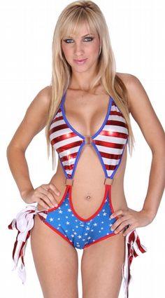 Delicate Illusions S0919FL Patriotic one piece monokini swimsuit, $71.00