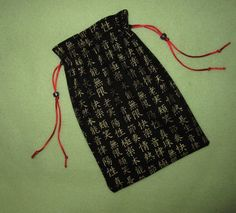 Tarot Card Bag GOLD SCRIPT 6x9 IChing Clairvoyant Asian Magick