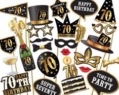 70th birthday Photo Booth props Instant by Instantgraffix on Etsy