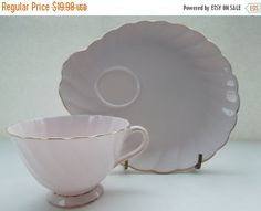 Vintage Tea Cup Saucer Tuscan Pink Gold Luncheon Set Swirled England Footed Cottage Wedding Anniversary Christmas Gift Birthday Anniversary by Passion4Europe on Etsy