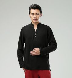 Black Commoner Chinese Style Men's Long-Sleeved Shirt via Asia-Sale Best Tai Chi, Kung Fu Clothing