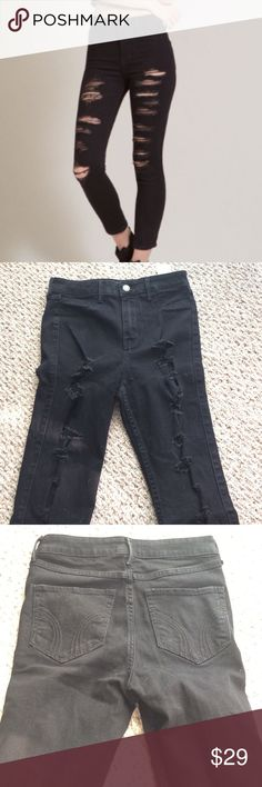 Hollister Destroyed Ripped Denim Super Skinny 5 Hollister size 5 super skinny, high waist, ripped jeans. Faded black. Came like this (rips and all). Wore literally once. Bought this year. Just looking to get back what I paid. Does have stretch!! 13.5 waist. 11 inch rise. 24 inch inseam. No trades and firm on price. Hollister Jeans Skinny