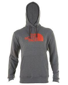 North Face Half Dome Hoodie Mens AAZZ-S3Z Grey Orange Pullover Hoody Size XL
