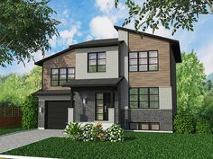 A combination of different roof lines adds excitement to this Contemporary house plan.The split level layout gives you short flights of stairs with rooms on every level.The one car garage is on the ground level while three steps up is the main living area.A wall of glass in back brightens the kitchen and dining area and the wonderful open floor plan is a delight to live with.Notice the terrific walk-in coat closet off the foyer.The ne...