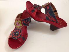 Spring Step Leather  Heels Sandals Shoes Matilda Multi Color Leather Art Sz 7/38 #SpringStep #PlatformsWedges #AllOccasion