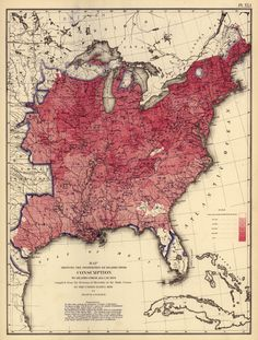 A red map of consumption made in 1870