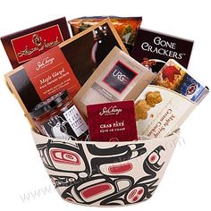 VIP - Gourmet gift basket made in a beautiful eco-friendly organic bamboo fiber bowl with a native screened design. Camping Gift Baskets, Gift Baskets Canada, Coffee Gift Baskets, Housewarming Gift Baskets, Wedding Gift Baskets, Kids Gift Baskets, Gift Baskets For Women, Themed Gift Baskets, Gourmet Gift Baskets