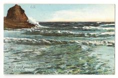 Coloured postcard of The West Coast Auckland. - 45605 - Postcard - Postcards Auckland Suburbs - Postcards New Zealand - Postcards By Country - EASTAMPS Salt Stone, Auckland New Zealand, West Coast, Postcards, Waves, Mood, Mountains, Country, Outdoor