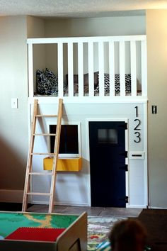 Wanting to spruce up your children's room? Consider buying or building bunk beds. Bunk beds create more space in a room, create childhood memories for your kids, and provide an opportunity for crea. Creative Kids Rooms, Indoor Playhouse, Playhouse Bed, Playhouse Ideas, Wooden Playhouse, Inside Playhouse, Deco Kids, Kids Bunk Beds, Kid Spaces