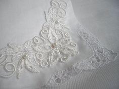 Imported White Irish Linen Lace Wedding Keepsake Hankie Shamrock As Seen At…