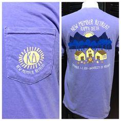 University of Arkansas Kappa Delta New Member Retreat pocket tee!  #KappaDelta # Kaydee #NewMemberRetreat #ComfortColors #Greek #SororityShirts  #CustomShirts #GreekLife #ScreenPrinting #GraphicDesign #Arkansas  #ΚΔ #TshirtIdeas
