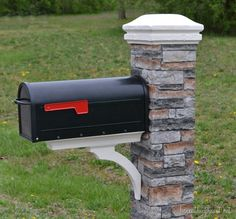 """makeover {Improving Curb Appeal Love this mailbox makeover -- the """"stone"""" just slides over the mailbox post.Love this mailbox makeover -- the """"stone"""" just slides over the mailbox post."""