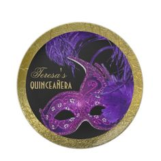 #Masquerade #quinceañera #fifteenth #birthday #party #fuchsia #pink plate with #Venetian #mask, #purple #feathers and #gold border.  #partyplate See more gifts of the same design here http://www.zazzle.com/yourbirthday/gifts?cg=196264960425734313=238228936251904937=zBookmarklet