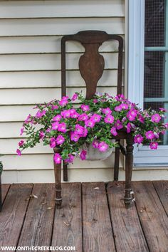 Chair Planter, Traditional Chairs, Ladder Back Chairs, Storage Places, Flower Planters, Vintage Chairs, Garden Chairs, Yard Sale, My Flower