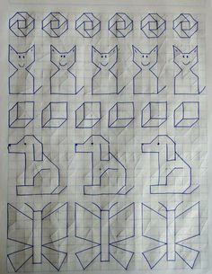 Drawing Lessons, Art Lessons, Cross Stitch Designs, Cross Stitch Patterns, Graph Paper Art, Kindergarten Learning, Teaching, Writing Styles, Autumn Art
