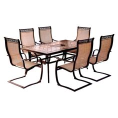 Monaco 7 Pc Dining Set With Six C Spring Chairs And A Tile Top Dining Table - Tan - Hanover