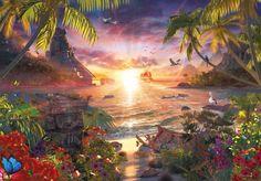 Puzzle RAVENSBURGER 18000 dílků - D.Penfound, Západ slunce v ráji