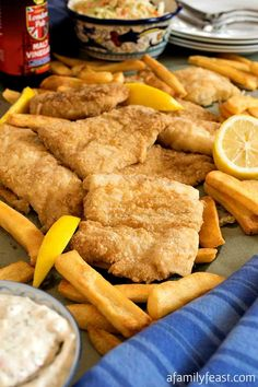 This New England Fish Fry is so good, it rivals some of the best seafood restaurants on Cape Cod! Crispy, light and tender. Fried Fish Recipes, Seafood Recipes, Fish Dishes, Main Dishes, Seafood Dishes, Fish Batter Recipe, Fish Nuggets, Best Seafood Restaurant, Battered Fish
