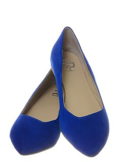New Suede Shoes Flats in Cobalt at ShopPlasticland.com #Rockabilly #blue #shoes