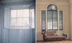 interior shutters  solid shown left louvered on right