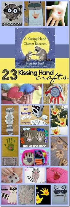 Kissing Hands Crafts for Back To School 23 Kissing Hand Crafts - so many fun, unique craft for kids that are perfect for back to school with preschool and kindergarten age kids. THese are great for the first day of school Kissing Hand Preschool, Kissing Hand Crafts, Kissing Hand Activities, The Kissing Hand, First Day Of School Activities, Kindergarten First Day, 1st Day Of School, Beginning Of The School Year, Kindergarten Literacy