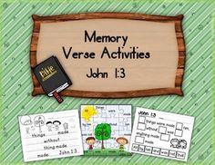 Bible Verse Activities for John 1:3 freebie