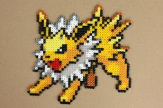Jolteon Pokemon Hama Perler Bead Sprite by StrepiePixelCrafts