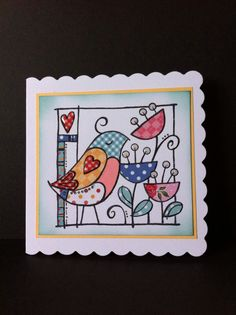Woodware stamp-Hello Birdie. Paper piecing. Cat Cards, Bird Cards, Greeting Cards, Penny Black Stamps, Hand Stamped Cards, Some Cards, Paper Cards, Paper Piecing, I Card