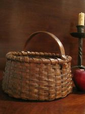 Antique 1800's New England Red Stain Woven Splint Gathering Basket...