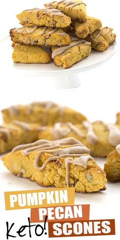 Move over, Starbucks! We've got a healthier keto pumpkin scone recipe and it's taking the world by storm. Tender pumpkin spice scones studded with pecans and drizzled with a sugar-free cinnamon glaze. The perfect low carb fall treat! #ketodiet #pumpkinscones #lowcarb No Carb Recipes, Low Carb Chicken Recipes, Healthy Low Carb Recipes, Low Carb Dinner Recipes, Low Carb Desserts, Lunch Recipes, Dessert Recipes, Flour Recipes, Keto Dinner