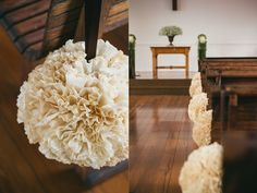 "Spend Thrift Bride: Coffee Filter Pomanders -- for a ""softer"" pomander look... that'd match the rest of the decor"