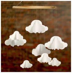 Initiales GG ... : {DIY} Un mobile de nuages en papier facile à réaliser!