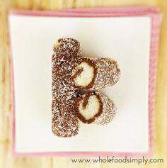Healthy summer roll [the chocolate: cashew spread, cocoa, honey. Filling: desiccated coconut, coconut cream, honey, vanilla extract]