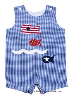 Funtasia Infant / Toddler Boys Blue Check Shortall with Patriotic Fish