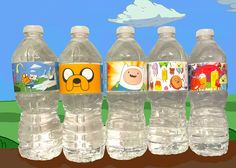 Printable Water Bottle Label- Party Printables - Adventure Time 5 designs. $7.00, via Etsy.