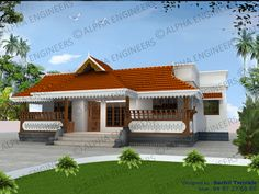Elevation 0141   Kerala Home Elevations   Pinterest   House  Dream     Kerala style single stored home design  Traditional Kerala style home plans  and elevations