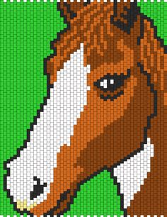 Brown And White Horse bead pattern