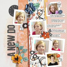 A New Do - A digital scrapbook page by Diane.  The digital scrapbooking layout is made using digital scrapbooking kit(s) designed by Pink Reptile Designs, sold at The Lilypad: New Beginnings Papers & Element, State the Date.