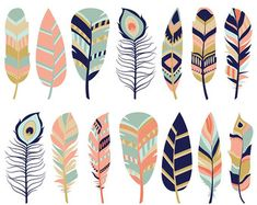 Feather Clipart Digital Feathers Feather Clip Art Blue Feathers Pink Feathers Commercial Use Printable Feather Clip Art, Feather Crafts, Arrow Feather, Teal Coral, Coral And Gold, Teal Colors, Navy Pink, Beige Color, Color Blue