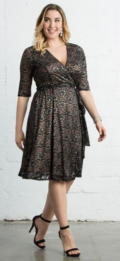 JUST IN!! Stitch Fix Plus Size fashion! 2017 fashion trends up to size 24W & 3XL. Have your own personal stylist picke items just for you & delivered to your door. No stress shopping in stores! #sponsored #stitchfix Beautiful black lace wrap dress with nude underlay. Plus size fashion 2017