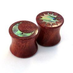 Abalone Sun and Moon Inlay on Bloodwood Plugs - 0g (8mm) 00g (9mm) (10mm) 7/16 (11 mm) 1/2 (13 mm) 9/16 (14 mm) 5/8 (16 mm) Ear Gauges