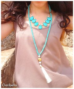 Long Turquoise Beaded Necklace  Cream Tassel by ClaribellasDesigns, $30.00