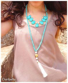Long Turquoise Beaded Necklace  Cream Tassel by ClaribellasDesigns, $30.00